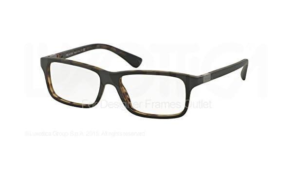 b60d94522a PRADA Eyeglasses PR 06SV UBF1O1 Green Matte Tortoise 56MM at Amazon Men s  Clothing store