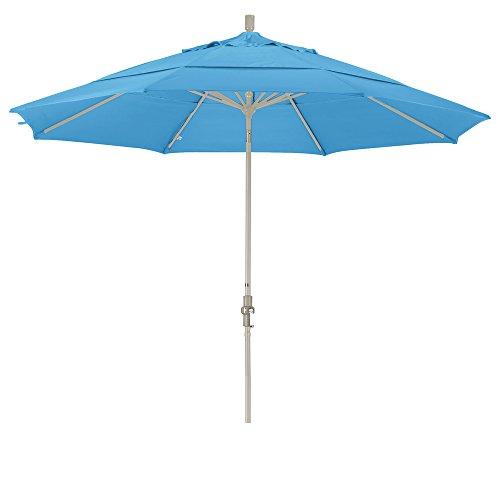 California Umbrella 11′ Round Aluminum Market Umbrella, Crank Lift, Collar Tilt, Sand Pole, Pacifica Capri