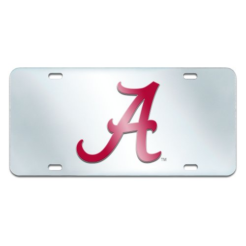FANMATS NCAA University of Alabama Crimson Tide Plastic License Plate (Inlaid)