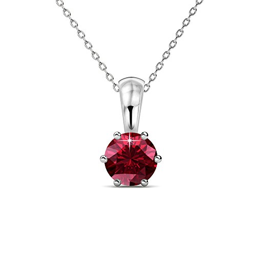Cate & Chloe White Gold Birthstone Necklace, 18k Gold Plated Necklace with 1ct Garnet Birth Stone Swarovski Crystal, January Birthstone Jewelry for Women