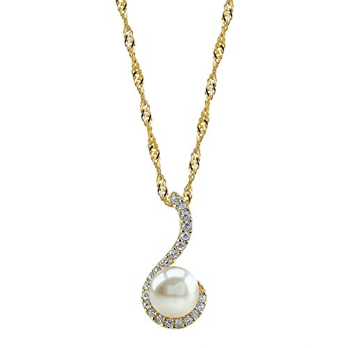 THE PEARL SOURCE 10-11mm Genuine White Freshwater Cultured Pearl Swirl Pendant Necklace for Women