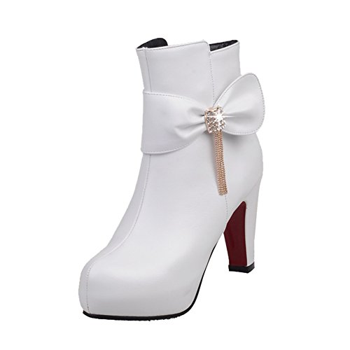 Latasa Womens Bow Platform High Heels Ankle Dress Boots White ivWcwG0fAh