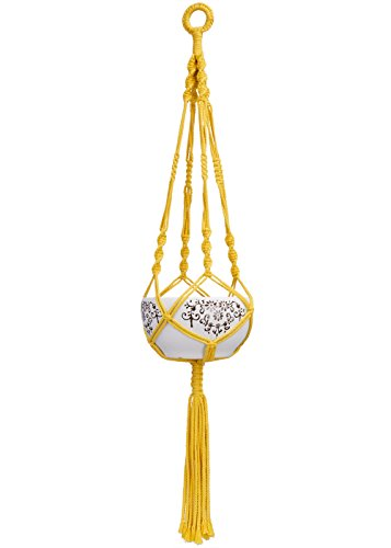 Mkono Colorful Macrame Plant Hanger Indoor Outdoor Hanging Planter Basket Cotton Rope 4 Legs 40 Inch-Yellow