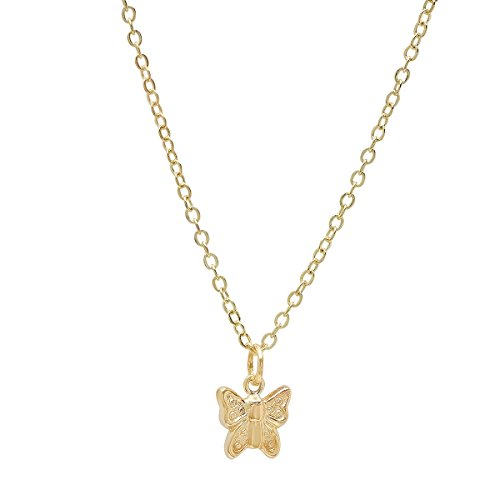 (Pori Jewelers 14K Yellow Gold Butterfly Pendant in Diamond Cut 14K Gold Cable Chain Necklace -18