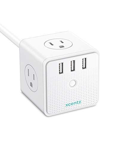 Power Strip Surge Protector Cube Travel Outlet Overload Protection 4 AC Outlets 3 USB Ports for iPhone X/XS/XR/Max, 5ft Cord Compact for Office Home & Travelling, Lattice ()