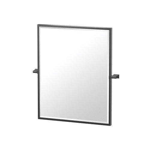 "313dwb59BCL - Gatco 4719XFSM Bleu Framed Rectangle Mirror, 25"" H, Matte Black"