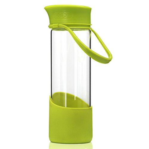 BONISON Smiley Face Cup Borosilicate Glass Water Bottle with Silicone Sleeve Cover and Handle Twist Screw Lid, 17 oz - Green