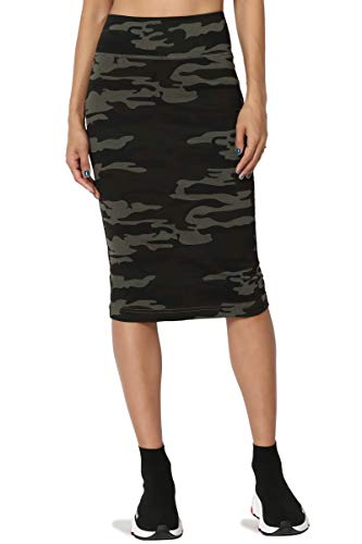 Camo Knee Length Skirt - TheMogan Junior's Camo Print Stretch Ponte High Waist Midi Pencil Skirt Olive S