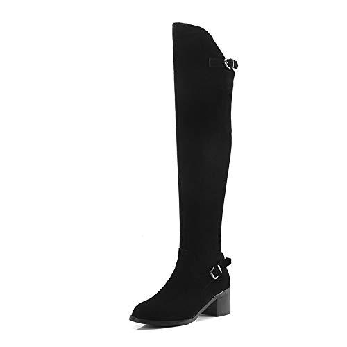 De Rodilla Botas Grande 34 Cuadrado Match Sólido Alto Altas Mujer All Haoliequan Invierno Hasta Tacón Para 40 La Negro Tamaño Zapatos HB0nnWqI
