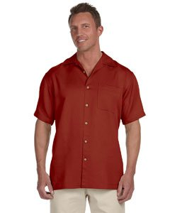 Harriton Men's Bahama Cord Camp Shirt - Large - TILE_RED