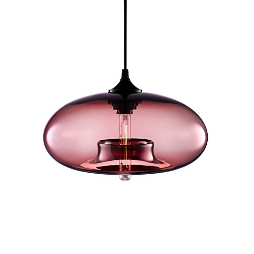 Industrial Transparent Glass Pendant Light Modern Hanging Lamp Hand Blown Glass Pendant Light Industrial Vintage Pendant Glass Hanging Light (pink) (Vintage Hand Blown Glass)
