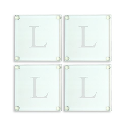Cathy's Concepts Personalized Glass Coasters, Set of 4, Letter L - Monogrammed Coasters L