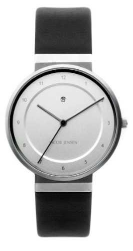 46ee9df3b74f Image Unavailable. Image not available for. Colour  Jacob Jensen Dimension  Series Men s Quartz Watch with White Dial Analogue Display and Black Leather  ...