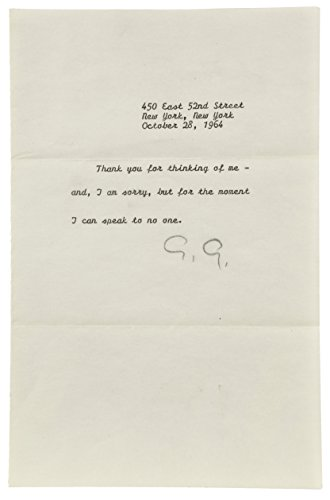 GRETA GARBO Personal Signed Letter to Sydney - Signed Letter Personal