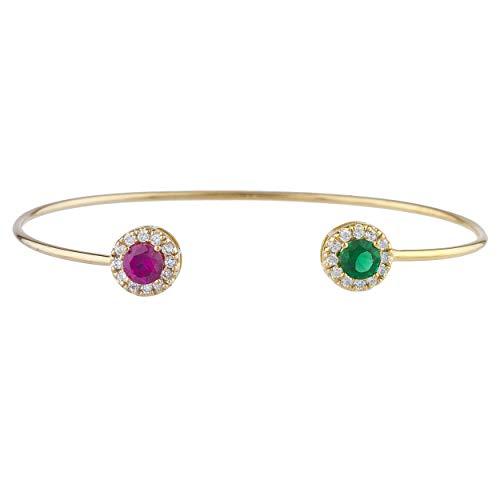 Bangle Emerald Gold Bracelets - Emerald & Ruby Halo Design Bangle Bracelet 14Kt Yellow Gold Rose Gold Silver