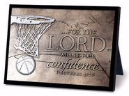 (Lighthouse Christian Products Moments of Faith Basketball Rectangle Sculpture Plaque, 4 1/2 x 6 1/2