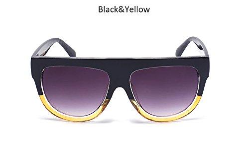 Bastidor ZHANGYUSEN Gafas sol de remache Top de Moda UV400 Señoras tonos Womenr hembra Gafas sol Blackyellowgray Flat Vintage grande de sobredimensionado Blueredgray rwqI6r