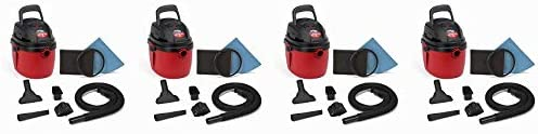 Shop-Vac 2030100 1.5-Gallon 2.0 Peak HP Wet Dry Vacuum, Small, Red Black 4- Pack