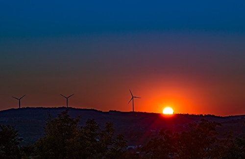 Home Comforts LAMINATED POSTER Energy Wind Power Sunset Wind Energy Pinwheel Poster 24x16 Adhesive Decal