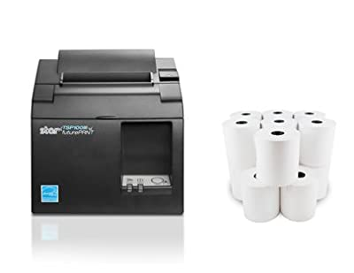 Square POS Compatible Star Micronics TSP143IIILAN 39464910 Thermal Network Ethernet LAN Receipt Printer and 10 Rolls of Epsilont Thermal Receipt Paper 3-1/8 x 230ft