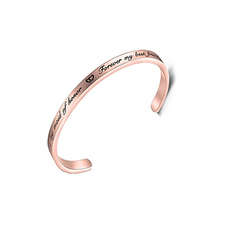 - RUNXINTD Maid of Honor Bracelet Today My Maid of Honor Forever My Best Friend Wedding Gift Bridal Party Jewelry (Cuff Bracelet-Rose Gold)