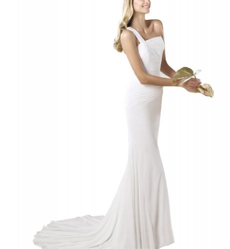 Schulter Brautkleider Riemen Chiffon Hochzeitskleid Einfache Weiß Ein BRIDE GEORGE Hochzeitskleider elegante 608xYyq