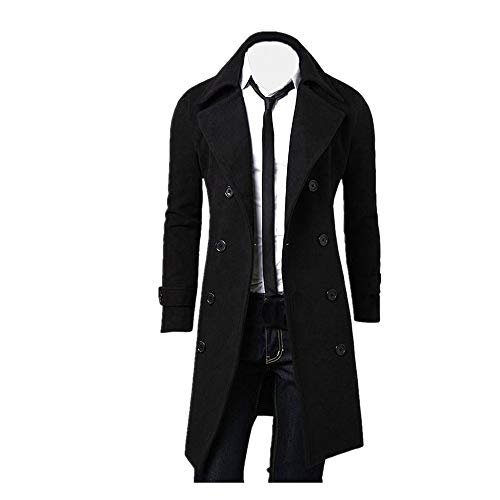 (Muranba Clearance Men Slim Trench Coat Double Breasted Long Jacket )