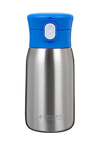Secura Vacuum Insulated Stainless Steel Straw Water Bottle with Handle, 350ML/12OZ,Blue