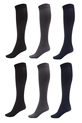 6 Pack of Women Trouser Socks with Comfort Band Stretchy Spandex Opaque Knee High, 2 Black, 2 Navy, 2 Dark Grey