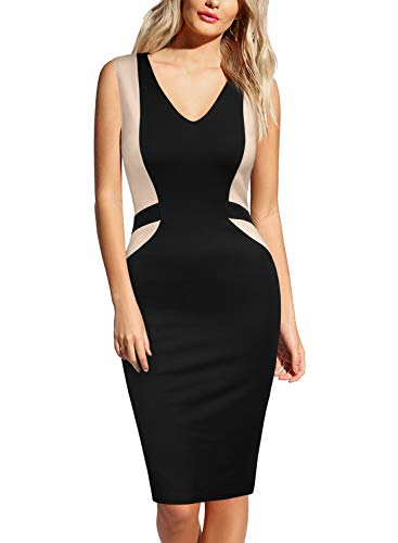 MUSHARE Women's Elegant Sleeveless Colorblock Deep V Neck Cocktail Party Pencil Dress