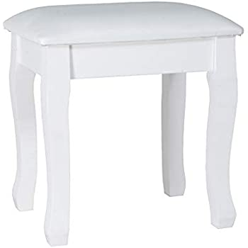 Amazon Com Organizedlife White Vanity Stool Padded Makeup