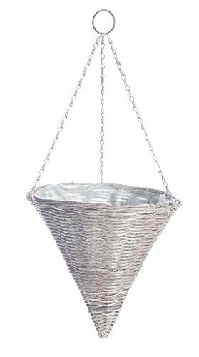 Gardman 35cm hellgrauer Hängekegel mit Rattan-Effekt Kunsstoffkorb 35 cm (14-inch) Effect Light Grey Hanging Cone, Multi-Colour, 35.5 x 35.5 x 36 cm