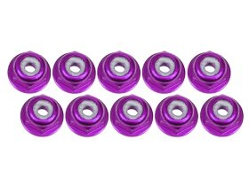 Nut Flanged Aluminum Lock (3Racing #3RAC-NF20/PU 2mm Aluminum Flanged Lock Nuts (10 Pcs) - Purple for 3Racing All)