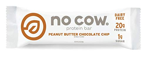 (No Cow Protein Bar, Peanut Butter Chocolate Chip, 20g Plant Based Protein, Low Sugar, Dairy Free, Gluten Free, Vegan, High Fiber, Non-GMO, 12 Count)