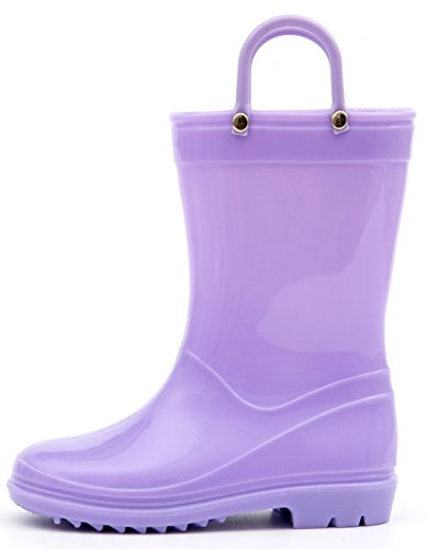 Outee Kids Toddler Boys Girls Rain Boots Waterproof Shoes Lightweight Purple Solid Cute Lovely Funny with Easy-On Handles Classic Comfortable (Size ()