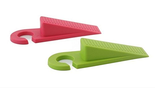 Daiso Premium Door Stopper 2 Pack, Decorative Door Stops with Hooks, Rubber Door Wedges, Holders (Pink/Green)