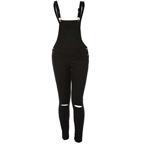 Demin Per Jeans Pantaloni Jersey Donne Con Pagliaccetto Donna Tuta Nero Denim Sciolto Da In Casual Bib Hole Ragazze qnCwa