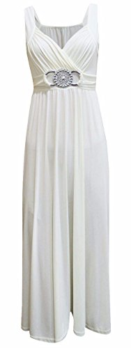 Glamorous Empire Womens Ladies Sleeveless Back Tie Buckle Long Maxi Dress Cream XXX Large