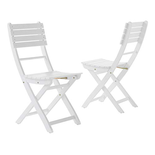 GDF Studio Vicaro | Acacia Wood Foldable Outdoor Dining Chairs | Perfect for Patio | Set of 2 | with White Finish (Patio White Wood Dining Set)