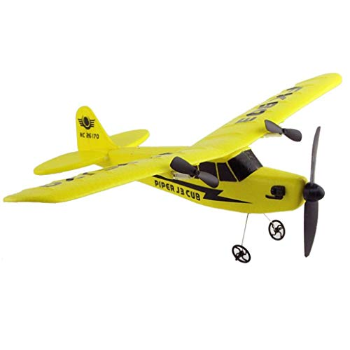 (SQSAY Remote Control RC Helicopter Plane Glider Airplane EPP Foam 2CH 2.4G Toys for Adults and Kids (Yellow/Red),Yellow)