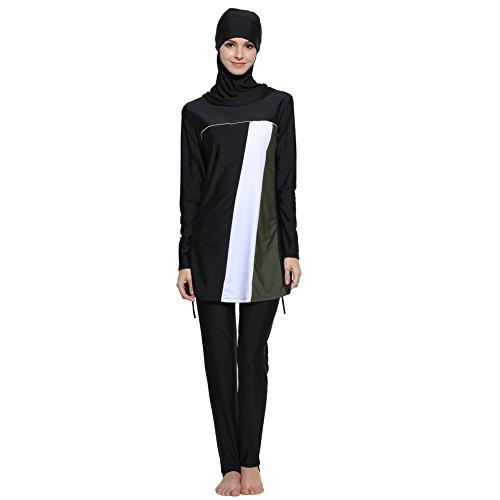 Muslim Swimwear Women Islamic Hijab Modesty Modest Swimsuit Costume Black 4XL