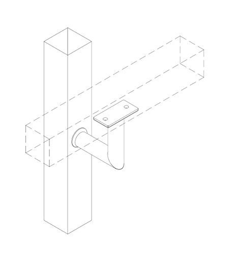 Stainless Steel Handrail Wall Bracket Luminous Quasar (Mounting Surface: Wood or Sheet Rock) by Inline Design (Image #3)