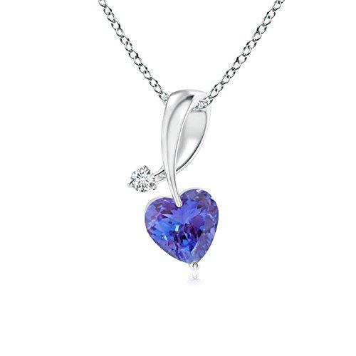 (Heart-Shaped Tanzanite Ribbon Pendant with Diamond in 14K White Gold (4mm)