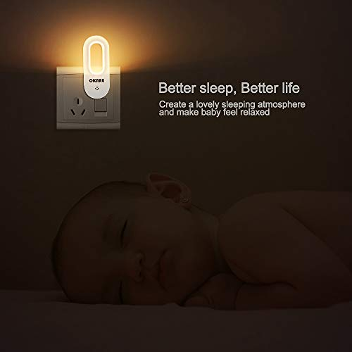 LED Night Light, OKNAE Automatic Wall Lights with Dusk to Dawn Photocell Sensor, Night Lamp Lighting for Babyroom, Kids, Children's Room, Nurseries, Stair, Hallway, etc-Warm White,2-Pack