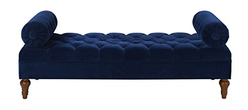 Jennifer Taylor Home Lewis Collection Modern Bolster Hand Tufted Upholstered Accent Entryway Bench With 2 Detachable Bolster Pillows, Navy
