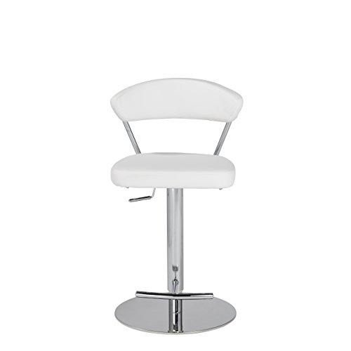 Euro Style 05105WHT Draco Adjustable Bar/Counter Stool, White