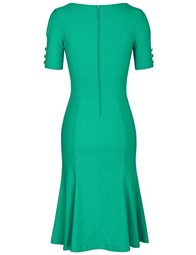 MUXXN Womens Audrey Hepburn Tie Collar Party Wiggle Dress with Sleeves (Grass Green L)