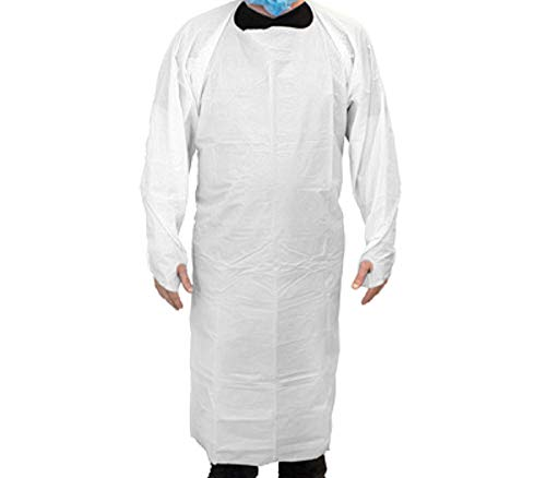 100 Pack White CPE Coat Aprons 35'' x 60''. Disposable Polyethylene Aprons. Unisex Liquid-Proof Workwear. Protective Uniform Aprons for Men, Women. Die cut ties with thumb hole. Lightweight, Breathable. by ABC Pack & Supply (Image #1)