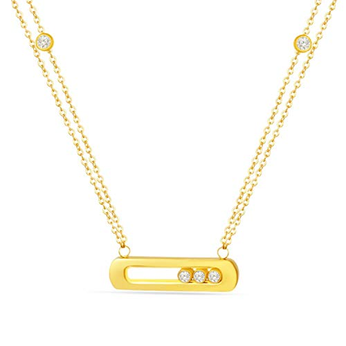 Designer Inspired Titanium Steel Love Pendant Necklace with Sliding Swarovski Crystals Bar 18 Inch ()