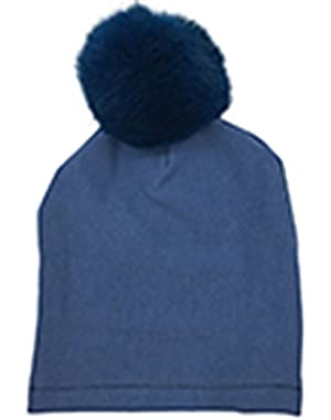 Baby Newborn Infant Toddler Boy Girl Cotton Faux Fox Fur Pom Beanie Hat Cap